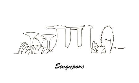 Illustration pour One line style Singapore city skyline. minimaistic style vector. - image libre de droit