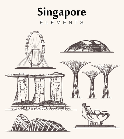 Illustration pour Set of hand-drawn Singapore buildings sketch vector illustration. - image libre de droit