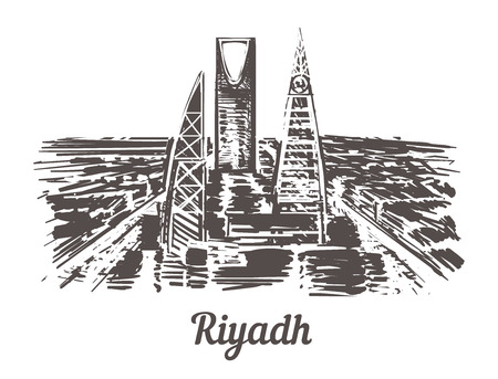 Illustration pour Riyadh skyline hand drawn. Riyadh sketch style vector illustration. Isolated on white background. - image libre de droit