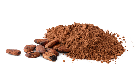 Photo pour Cacao powder and cocoa beans isolated on white - image libre de droit