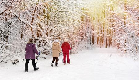 Photo pour Nordic walking in the winter park. - image libre de droit