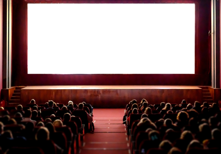 Photo for People in the cinema auditorium with empty white screen. - Royalty Free Image