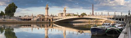 Foto de Stunning Pont Alexandre III bridge (1896) spanning the river Seine - Imagen libre de derechos