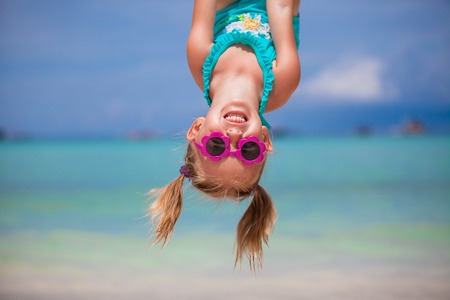 Photo for Happy little girl outdoors during summer vacation have fun with father - Royalty Free Image