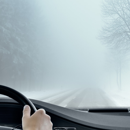 Photo for Winter Driving - Foggy Road - Royalty Free Image