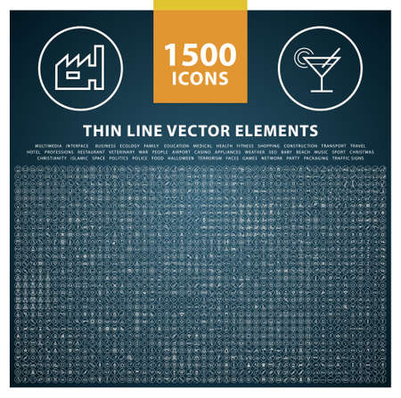 Set of High Quality Thin Line Icons . Isolated Vector Elements