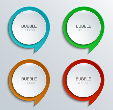 Illustration pour Vector modern bubble speech icons set. Business development. 4 colors - image libre de droit