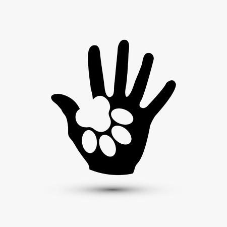 Ilustración de Vector modern paw hold hand black icon on white background - Imagen libre de derechos