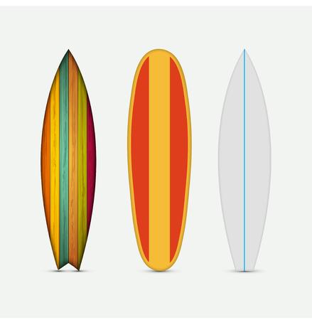 Ilustración de Vector modern colorful surfboard set on white background - Imagen libre de derechos
