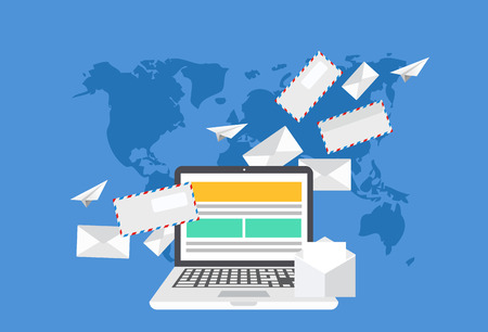 Ilustración de modern flat design of email marketing. Laptop with envelope or letters on world map background - Imagen libre de derechos