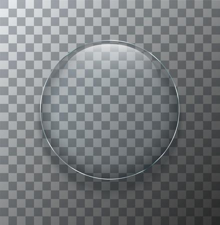 Ilustración de Vector modern transparent circle glass plate with shadow on sample background - Imagen libre de derechos