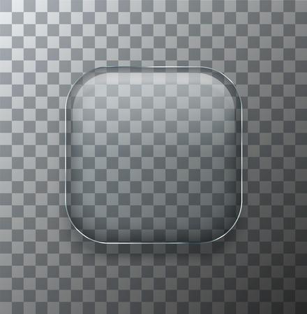 Ilustración de Vector modern transparent square glass plate with shadow on sample background - Imagen libre de derechos