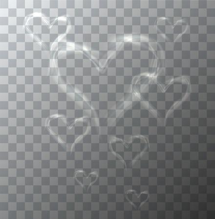 Illustration pour Vector modern heart from smoke on sample background. Eps10 - image libre de droit