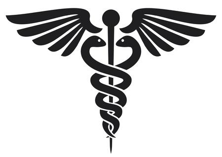 caduceus medical symbol  emblem for drugstore or medicine, medical sign, symbol of pharmacy, pharmacy snake symbol