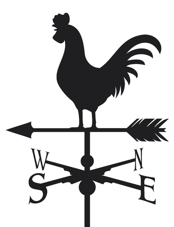 Illustration pour rooster weather vane  weathercock silhouette, rooster weather vane  - image libre de droit