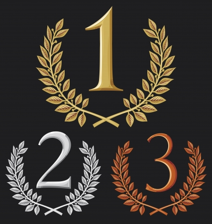 Illustration for first place, second place and third place  set of gold, silver and bronze symbols  - Royalty Free Image