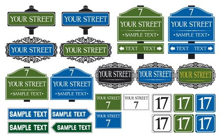 Illustration pour Big collection of road and street signs - image libre de droit