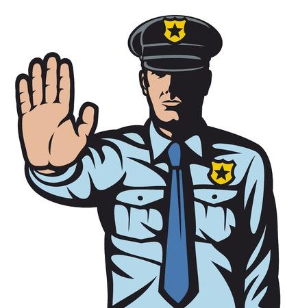 Illustration pour police man gesturing stop sign (stop sign by a police man, police officer is making stop sign with hand) - image libre de droit