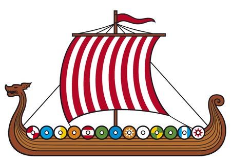 Illustration pour viking ship (viking boat, viking long ship) - image libre de droit
