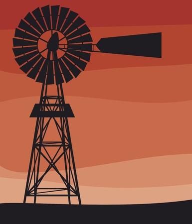 Illustration pour silhouette of a water pumping windmill (old windmill, windmill water tower) - image libre de droit