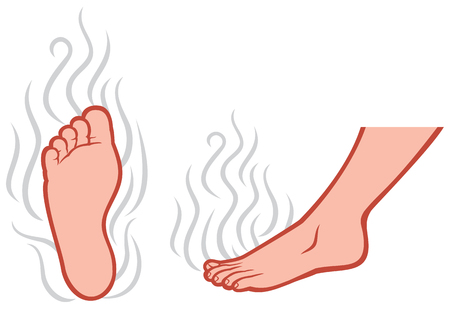 Illustration pour smelly feet smell of male feet, stinky feet - image libre de droit