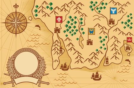 Illustration pour old map ancient map, antique map - image libre de droit