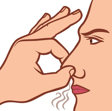 Illustration pour man holding his nose because of a bad smell bad smell concept - image libre de droit