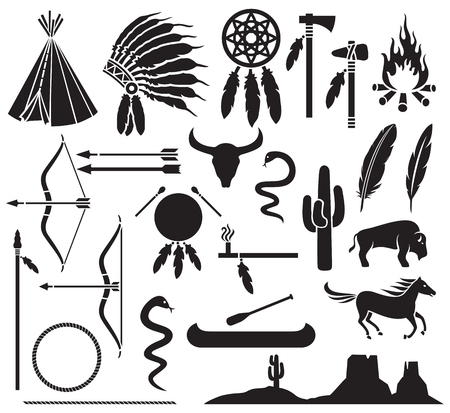 Illustration for native american indians icons set bow and arrow, snake, horse, bison, cactus, tomahawk, axe, campfire, landscape, wigwam, indian chief headdress, canoe, peace pipe, dream catcher - Royalty Free Image