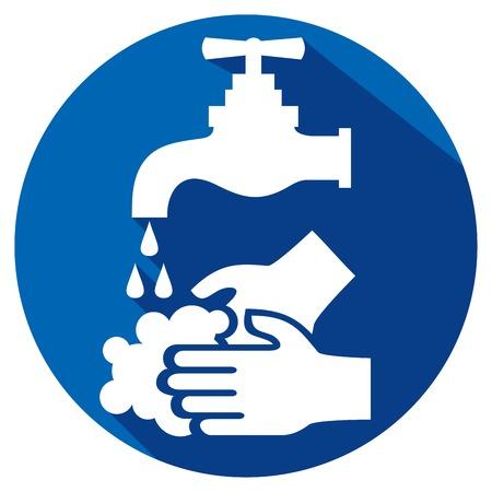 Illustration pour please wash your hands flat icon - image libre de droit