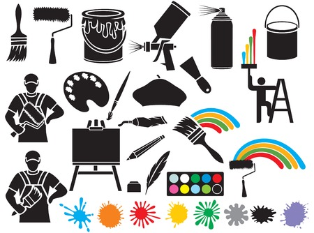 Illustration pour painting icons collection (painter, paint brush, paint roller, painter beret, bucket of paint, canvas on an easel, stains spray tin, spray gun, art palette with paints) - image libre de droit