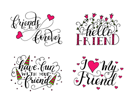 Illustration for Vector lettering set for friendship day. Handdrawn unique calligraphy for greeting cards, mugs, t-shirts, ets. - Royalty Free Image