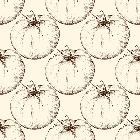 Illustration for Vector tomato handdrawn seamless pattern in the style of engraving. - Royalty Free Image