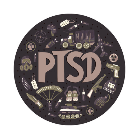 Illustration pour PTSD. Post traumatic stress disorder round vector illustration with military signs - parachute, tank, weapon, airplane, bomb, car, gas mask, automatic. Mental health consept. - image libre de droit