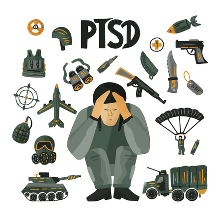 Illustration pour PTSD. Mental health concept with a soldier in stress. - image libre de droit