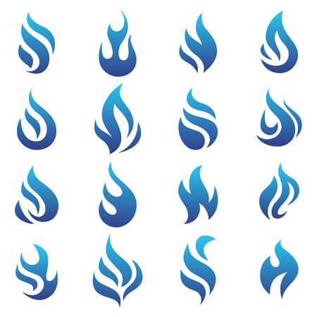 Illustration pour Fire flames blue, set icons, vector illustration - image libre de droit