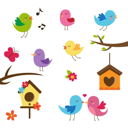 Illustration pour Cute birds. Design elements set. - image libre de droit