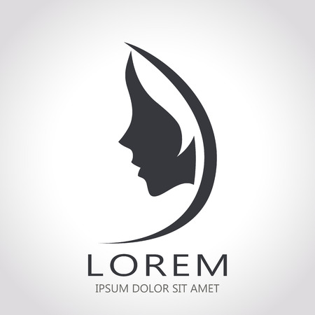 Illustration pour Template abstract logo for woman salons and shops. Stylized profile of a young beautiful woman. Abstract logo for a beauty salon. Portrait of a girl.  - image libre de droit