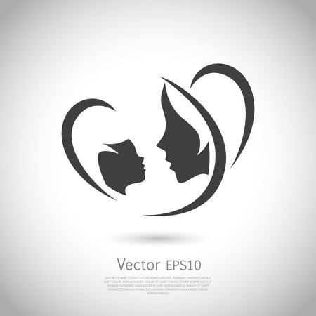 Illustration pour Icon mother and her baby. Healthcare or baby shop logo. Template for your design. Mom and me center. Vector illustration isolated on white background. Icon EPS10. - image libre de droit
