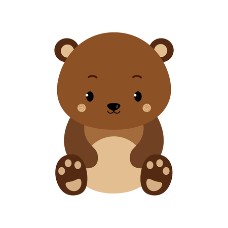 Illustrazione per Cute cartoon bear backgrounds. Flat design. Vector Illustration isolated on white background. - Immagini Royalty Free