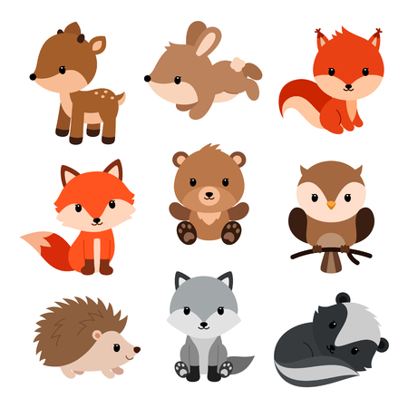 Illustration pour Woodland animals and decor elements set. Vector illustration isolated on white background. - image libre de droit