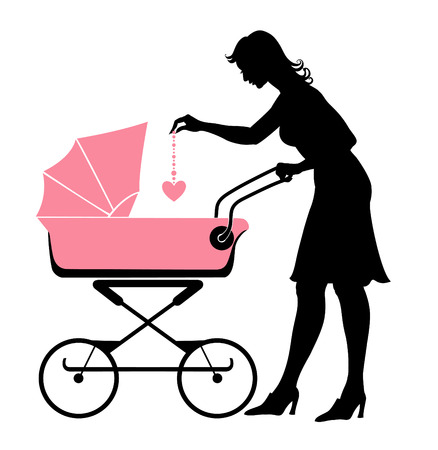 Vector illustration of the walking mother, pushing the stroller and playing with her baby.