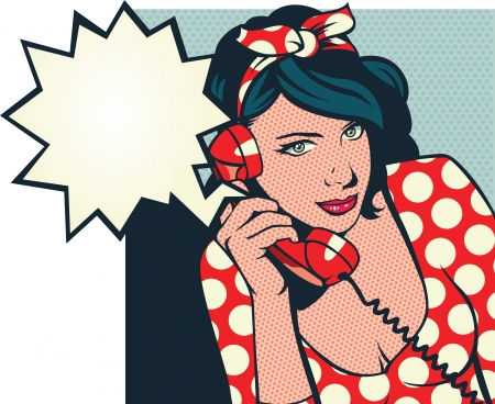 Foto per retro girl talking on phone - Immagine Royalty Free
