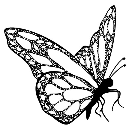 Illustration pour Butterfly, monochrome, coloring book, black and white illustration, hand-drawing, tattoo sketch. Exotic patterned Insect, decorative element, print. Vector illustration - image libre de droit