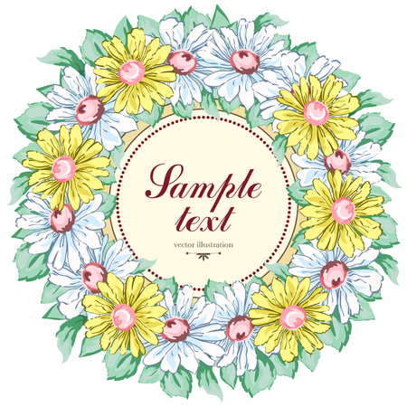 Illustration for Wreath of chamomile flowers, vector floral background, round flower frame, border. - Royalty Free Image