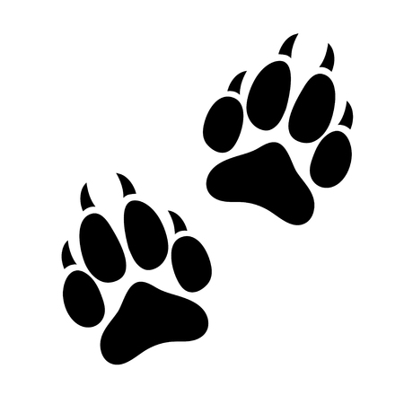 Ilustración de Paw print animal dog or cat clawed, silhouette footprints of an animal, flat icon, black traces. Isolated on white background. - Imagen libre de derechos