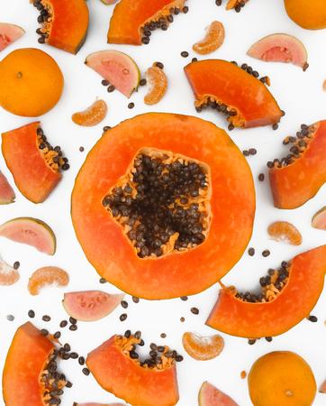 Photo for Fruit background - papaya, guava and mandarine on white background - Royalty Free Image