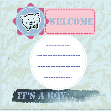 Illustration pour Baby shower and welcome greeting card. Text It's a Boy, Welcome. Little kittens,  sticker. Watercolor texture. Vector illustration. - image libre de droit