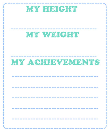 Illustration pour Vector baby milestone card for girl or boy. My height, my weight, my achievement. - image libre de droit