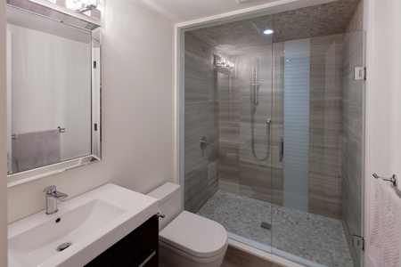 Photo for Modern bathroom in new luxury house - Royalty Free Image
