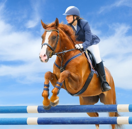 Foto de Equestrian sport - show jumping (young woman and sorrel stallion) on background of sky - Imagen libre de derechos